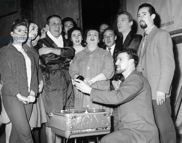 Jimmy Hill of Coventry City seen here with Sid James and the cast of Puss in Boots record The Coventry City song at the Coventry Theatre. 21st December 1962 (photo)