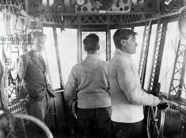 The main control car of the airship R101 seen here in operation during a proving flight from Cardington, c. January 1930 (b/w photo)