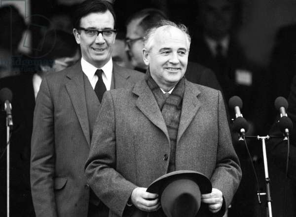 Mikhail Gorbachev at RAF Brize Norton where he met with Margaret Thatcher, December 1987 (b/w photo)