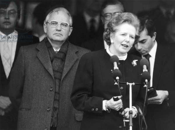 Prime Minister Margaret Thatcher meeting Soviet leader President Mikhail Gorbachev at RAF base Brize Norton, 8th December 1987 (b/w photo)