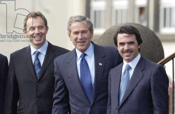 President George Bush with Tony Blair and Jose Maria Aznar at the Azores Summit, 16th March 2003 (b/w photo)