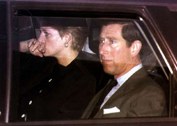 Prince Charles and Princess Diana leaving Lech Austria, 1992 (photo)