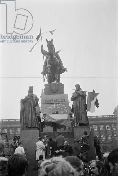 Young people gather round the King Wenceslas statue during the Prague Spring, August 1968 (b/w photo)