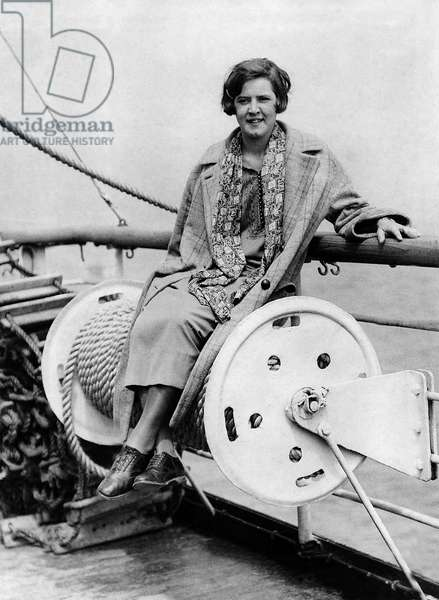 Gertrude Ederle, who became the first woman to swim the English Channel in 1926, arriving in England, June 1925