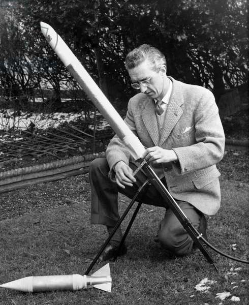 All the year round it is Guy Fawkes day for freelance industrial designer John D. Stewart, February 1969(b/w photo)