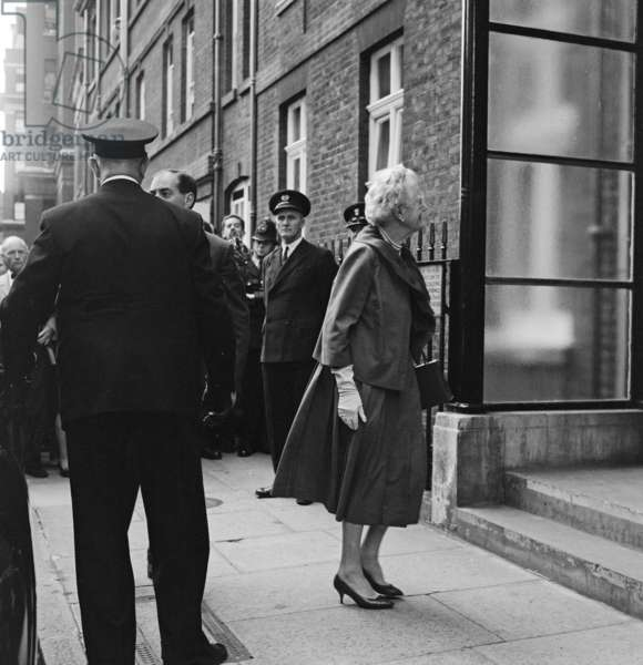 Sir Winston Churchill goes home again from hospital, pictured, his wife Lady Churchill. 21st August 1962 (b/w photo)