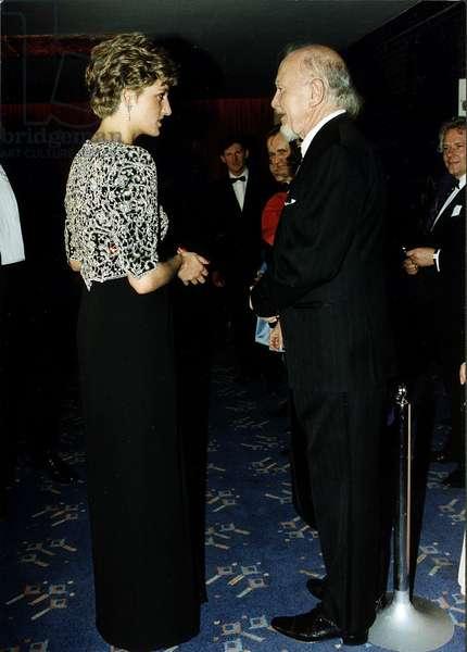Josef Locke Irish Singer talking with Princess Diana, March 1992 (photo)