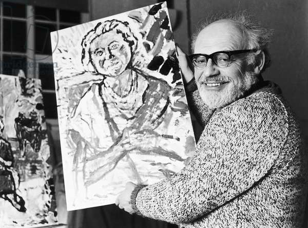 John Bratby Artist with one of his four paintings of the Queen Mother. 1978