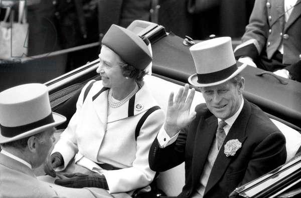 Queen Elizabeth II and Prince Philip, Duke of Edinburgh arriving at Royal Ascot today, June 1977 (b/w photo)