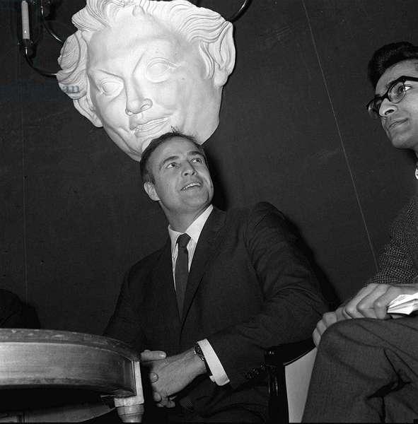 Actor Marlon Brando at a press conference 1964 (b/w photo)