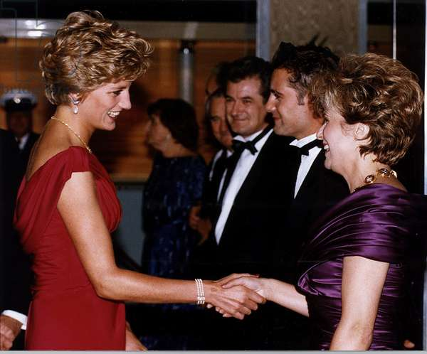 Julie Walters Actress shaking hand with the Princess Diana the Princess of Wales at the Premiere of the film Just Like a Woman, September 1992 (photo)