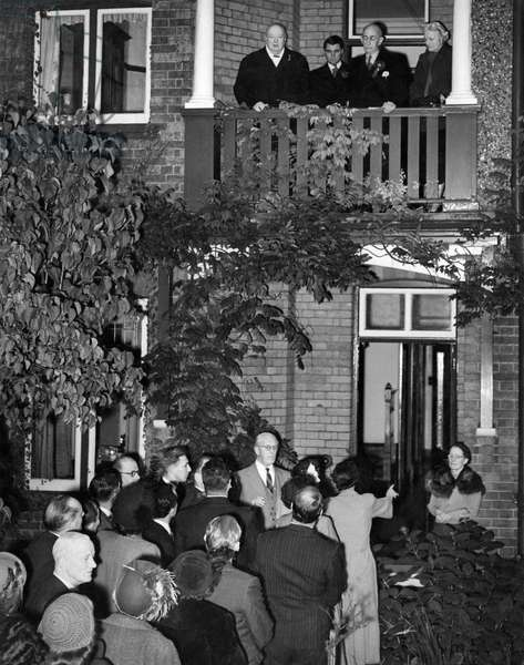 Winston Churchill makes a speech from the balcony following victory in his constituency of Woodford, Essex during the General Election. His Conservative Party went on to win the election by a small margin making him Prime Minister for the second time.  26th October 1951