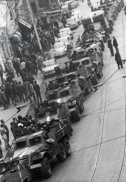 A Russian convoy in the centre of Prague following the Warsaw Pact's invasion of Czechoslovakia, 4th September 1968 (b/w photo)