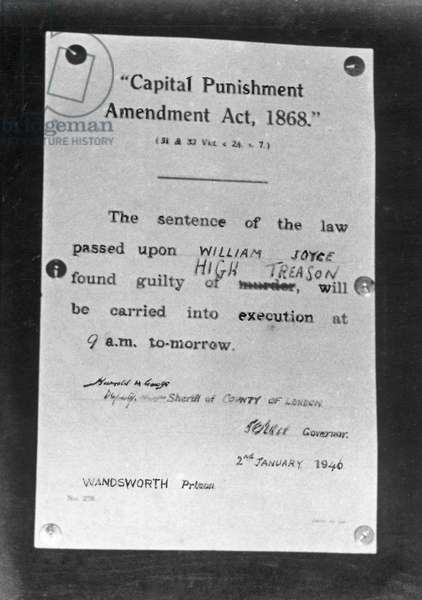 A notice board for the execution of William Joyce outside Wandsworth Prison on the eve of his execution for treason   January 1946