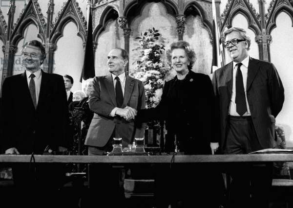 Prime Minister Thatcher with President Mitterrand after signing the Channel Tunnel Agreement, 12th February 1986 (b/w photo)