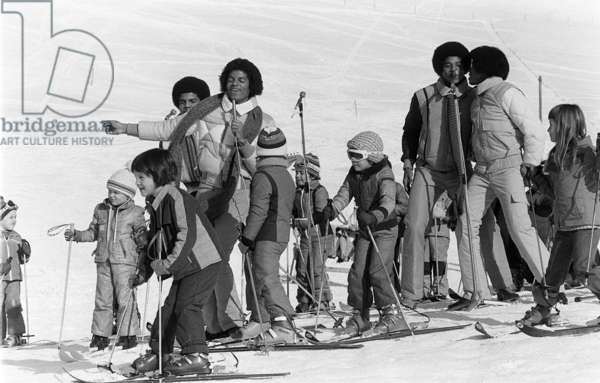 The Jackson Five performing in Switzerland on the slopes, 24th February 1979 (b/w photo)