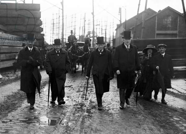 Winston Churchill as first Lord of the Admiralty with Lord Fisher of Kelverstone for the launch of HMS Centurion at Devonport dockyard, 20th November 1911 (b/w photo)