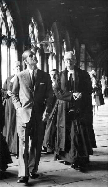 Prince Philip, Duke of Edinburgh, walks through the Clositers of Durham Cathedral, 27/05/1960