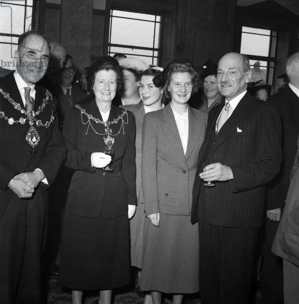 The 51st Labour Party Conference is being held at Morecambe.  Labour Party leader Clement Attlee (right) stands with the Mayor and Mayoress of Morecombe. September 1952  C4774-008