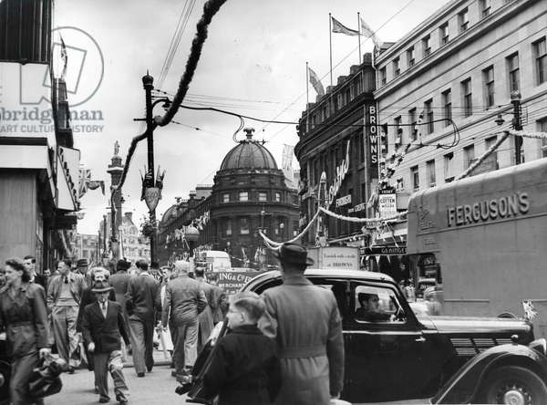 Queen Elizabeth II, Princess Elizabeth - Coronation - Grainger Street, Newcastle covered in coronation decorations, 1950, 1950 (b/w photo)