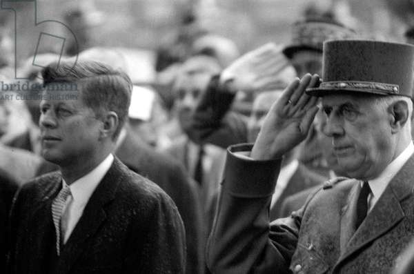 French leader Charles de Gaulle and John F Kennedy during the American President's spring trip to Paris, 1961 (b/w photo)
