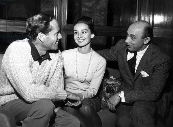 Mel Ferrer and Audrey Hepburn with Donald Zec, 1950 (b/w photo)