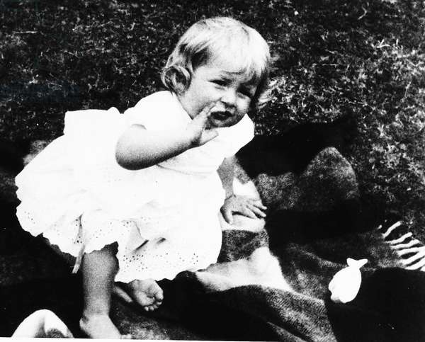 Princess Diana as a young child on her first birthday, July 1962 (b/w photo)