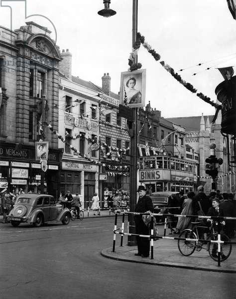 Queen Elizabeth II, Princess Elizabeth - Coronation - Bridge Street, Sunderland covered in coronation decorations, 1950, 1950 (b/w photo)