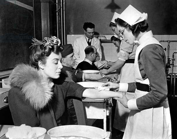 Volunteers for the mustard gas tests at the London Homeopathic Hospital. March 1942