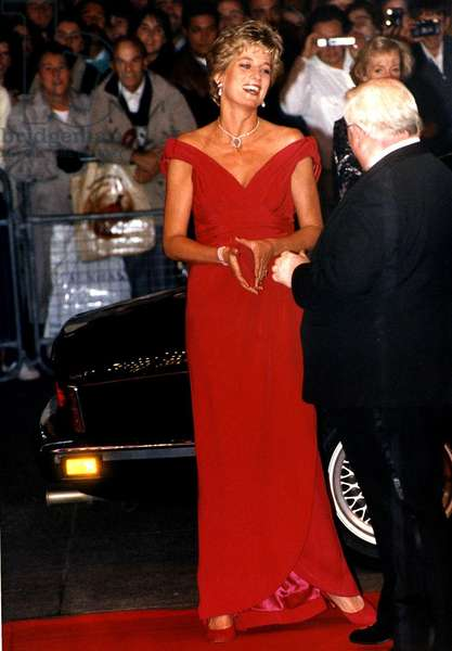 Princess Diana the Princess of Wales President of the Royal Marsden Hospital attending the Premiere of Just Like a Woman at the Odeon Cinema Leicester Square, December 1992 (photo)