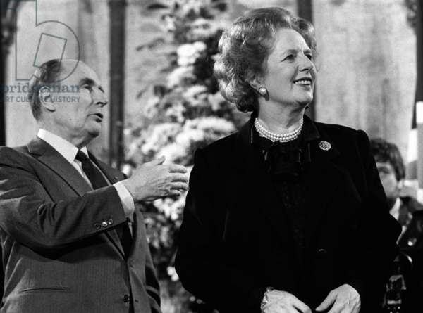 Prime Minister Thatcher signs the Channel Tunnel Agreement with President Mitterrand, 12th February 1986 (b/w photo)