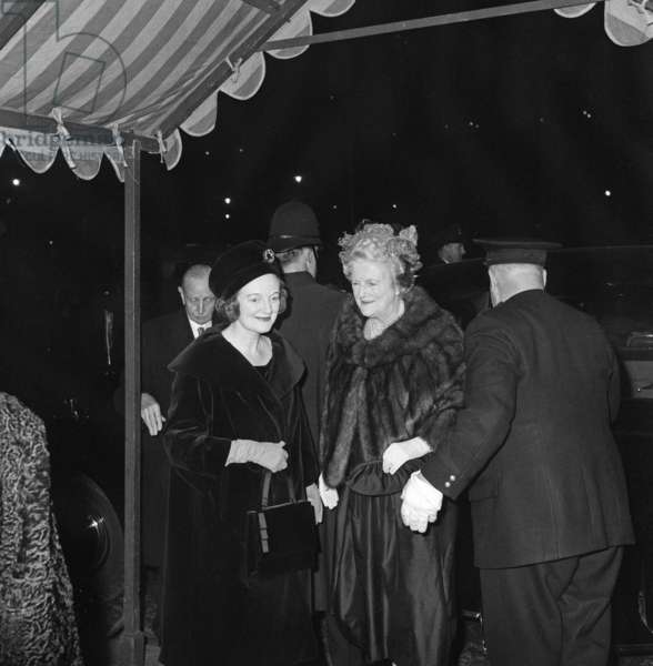 Lady Churchill pictured at the wedding of of granddaughter Edwina Sandys to Piers Dixon. 22nd November 1960 (b/w photo)
