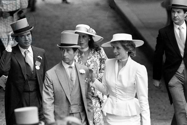 Princess Diana with Prince Charles and Oliver Hoare and his wife Diane at Ascot racecourse, June 1986 (b/w photo)