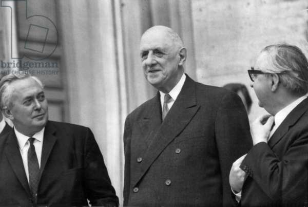 Prime Minister Harold Wilson and President de Gaulle meeting in Paris (b/w photo)