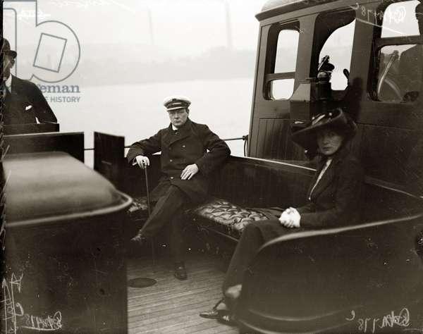 Winston Churchill with Wife Clementine in Jarrow, c.1908 (b/w photo)