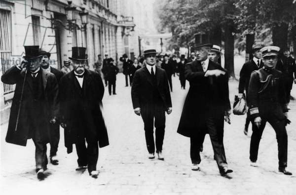 British Prime Minister Lloyd George and French President M Clemenceau, 1919 (b/w photo)
