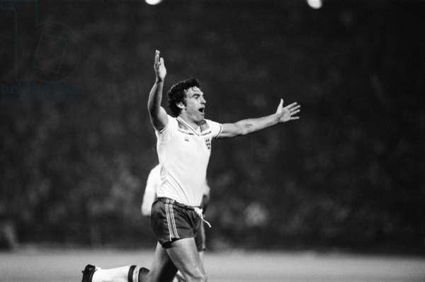 Trevor Brooking, World Cup Qualifier, Nepstadion, Budapest, 1981 (b/w photo)