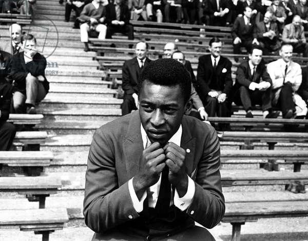 Brazilian football star Pele watching the England v Brazil international match at Wembley StadiumMay 1963 (photo)
