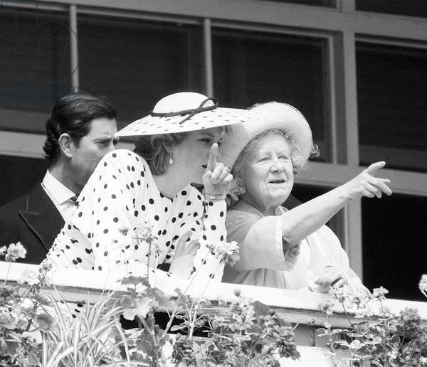 Queen Mother with Prince Charles and Princess Diana at the races, c.1988 (b/w photo)