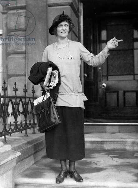 Lady Nancy Astor, Conservative candidate for Sutton district of Plymouth in the 1924 General Election seen outside her London residence, October 1924 (b/w photo)