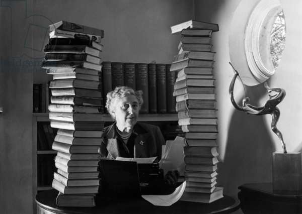 Agatha Christie at her home in 1950 (b/w photo)
