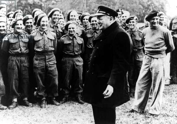 Winston Churchill with General Monty on a visit to Caen, 1944 (b/w photo)