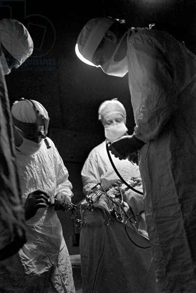 Brain surgery, 1947 (b/w photo)