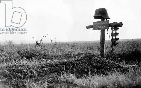 World War 2. The grave of a German soldier Normandy, 16/08/1944 (b/w photo)