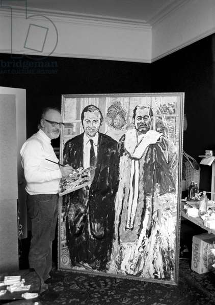"""Painting of Lord Lucan. Well known painter and Royal Academician has just completed an usual canvas entitled 'The Runaways'. It is a large double portrait of John Stonehouse and Lord Lucan, who could fairly be described as the most famous pair of runaways of 1974. The mysterious third person, a veiled woman is, the artist says """"The Goddess of Psychological Catastrophe"""", February 1975"""