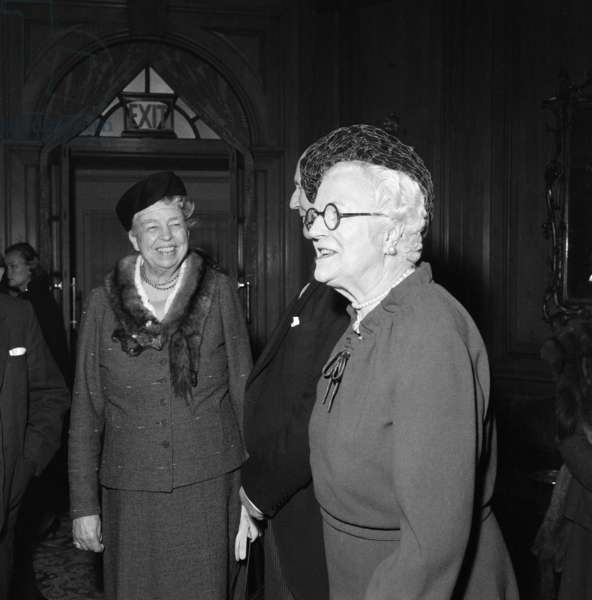 Eleanor Roosevelt and Lady Churchill at a Foyles luncheon. 6th April 1959 (b/w photo)