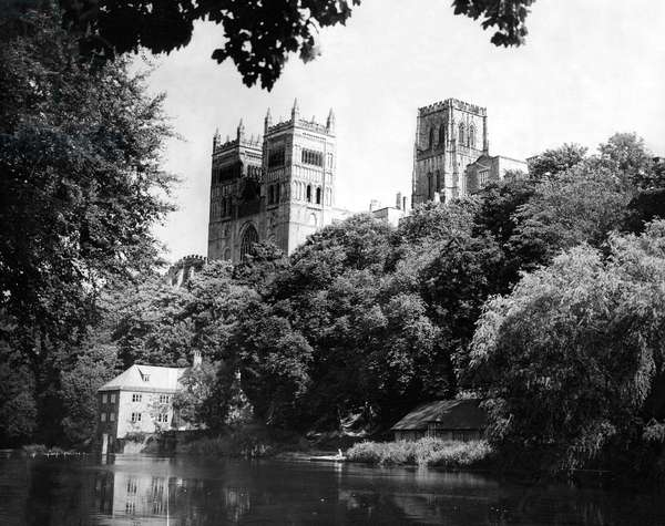 The grandeur of Durham Cathedral on the banks of the River Wear 8 December 1961 (b/w photo)