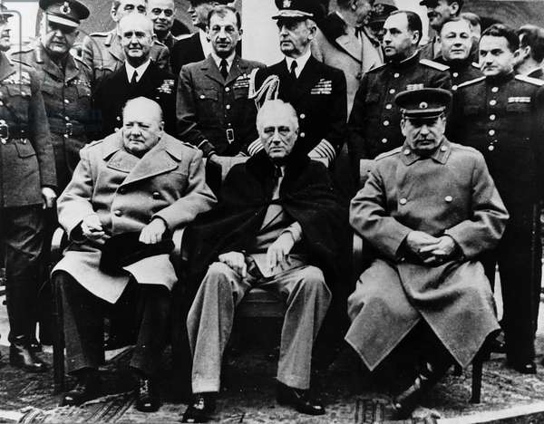 Winston Churchill British Prime Minister, with Franklin D Roosevelt American President and Josef Stalin at the Yalta Conference, February 4 to 11, 1945 (b/w photo)