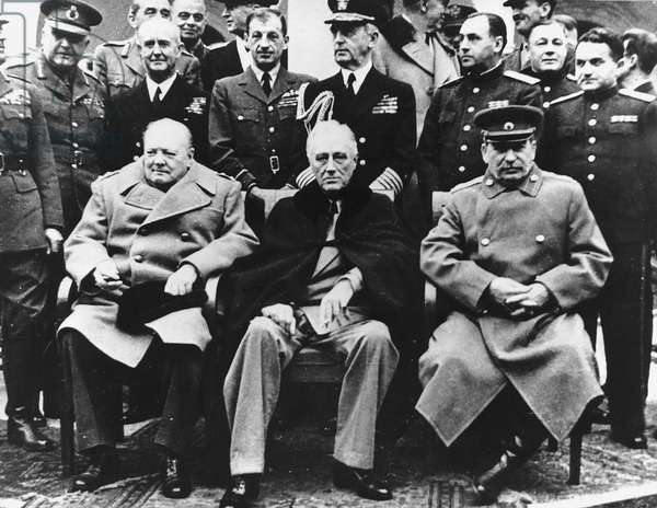 Winston Churchill with Franklin Roosevelt and Joseph Stalin at the Yalta Conference February 4th to 11th 1945 (b/w photo)