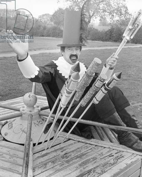 John Helm as Guy Fawkes seen here promoting the Guisborough annual firework display. 30th October 1982 (b/w photo)
